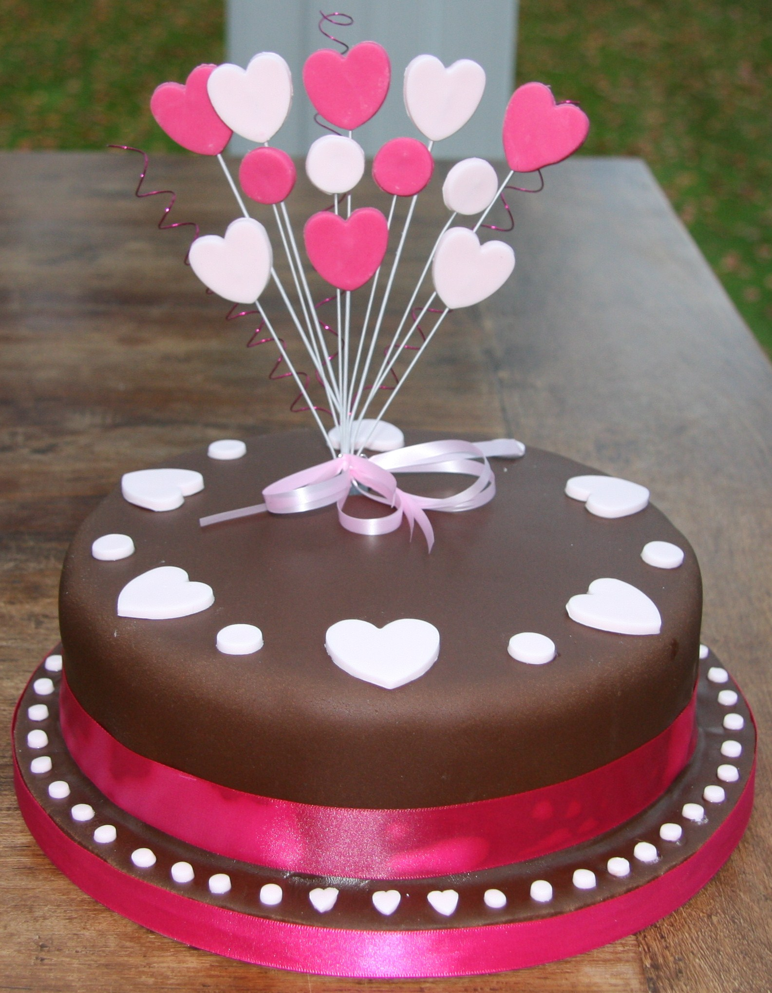 Birthday Cake Designs Chocolate Birthday Cake With Hearts Lovinghomemade