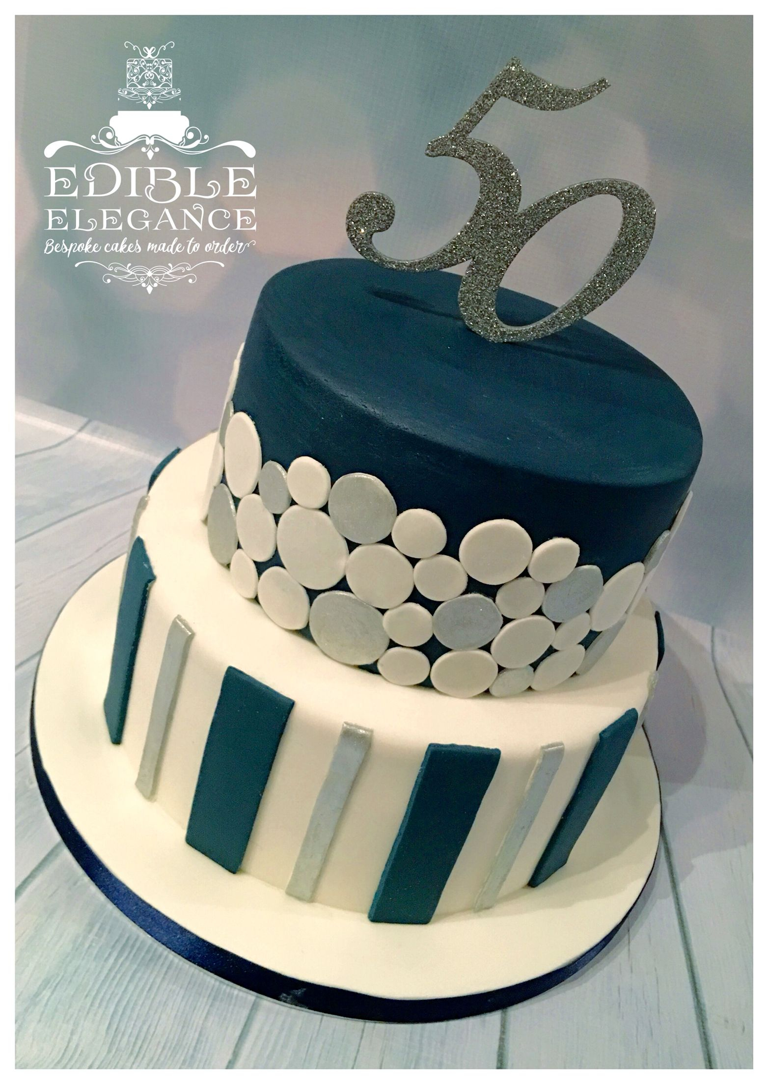 Birthday Cake Designs For Adults 50th Contemporary Design In Masculine Blue White And