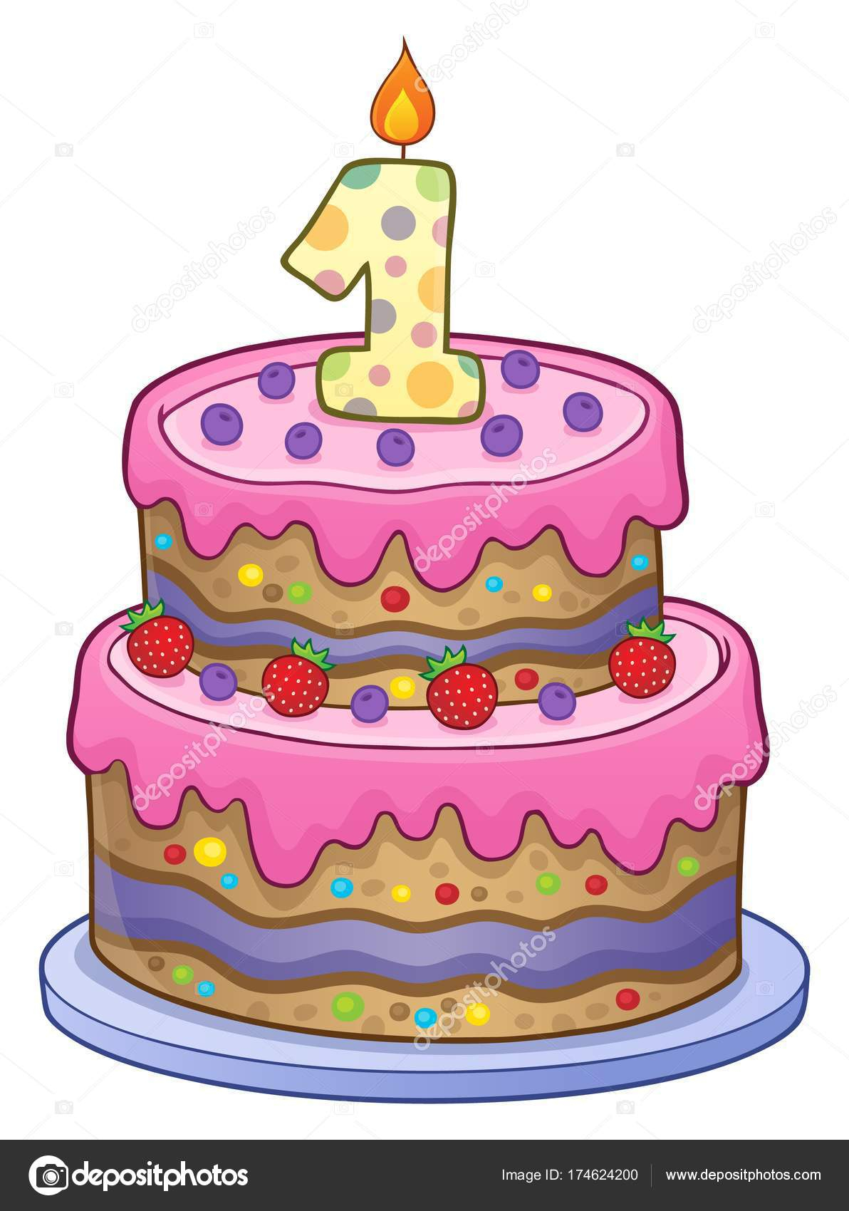 Birthday Cake For 1 Year Old Birthday Cake Image For 1 Year Old Stock Vector Clairev 174624200