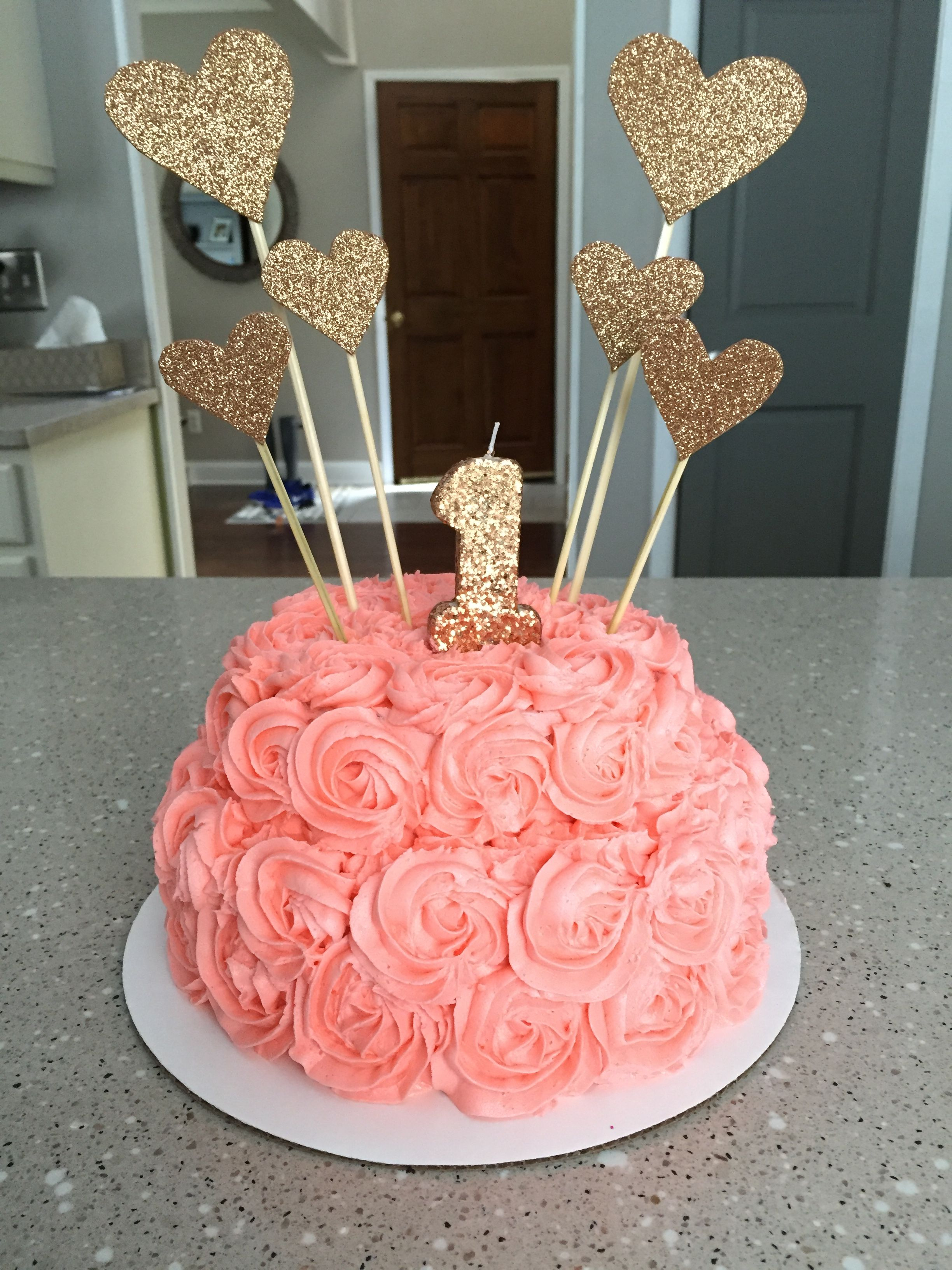 Birthday Cake For 1 Year Old First Birthday Cake Pink And Gold Decorations On A 1 Year Olds