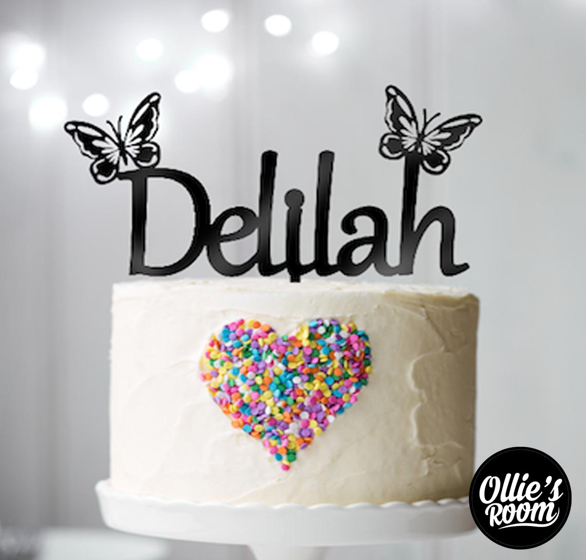Birthday Cake Toppers Personalised Name Birthday Cake Topper With Butterflies Australian