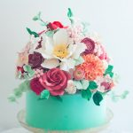 Birthday Cake With Flowers Aqua Floral Cake Lulus Sweet Secrets Cake Pinterest Cake