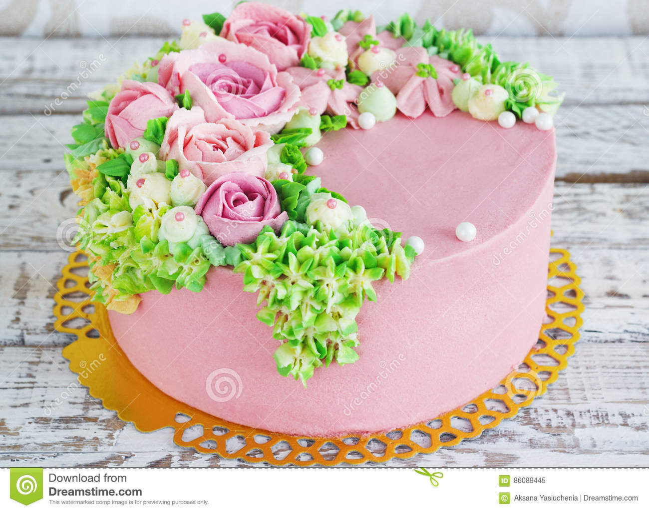 Birthday Cake With Flowers Birthday Cake With Flowers Rose On White Background Stock Image