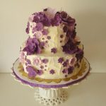 Birthday Cake With Flowers Cascading Purple Flowers Birthday Cake Cakecentral