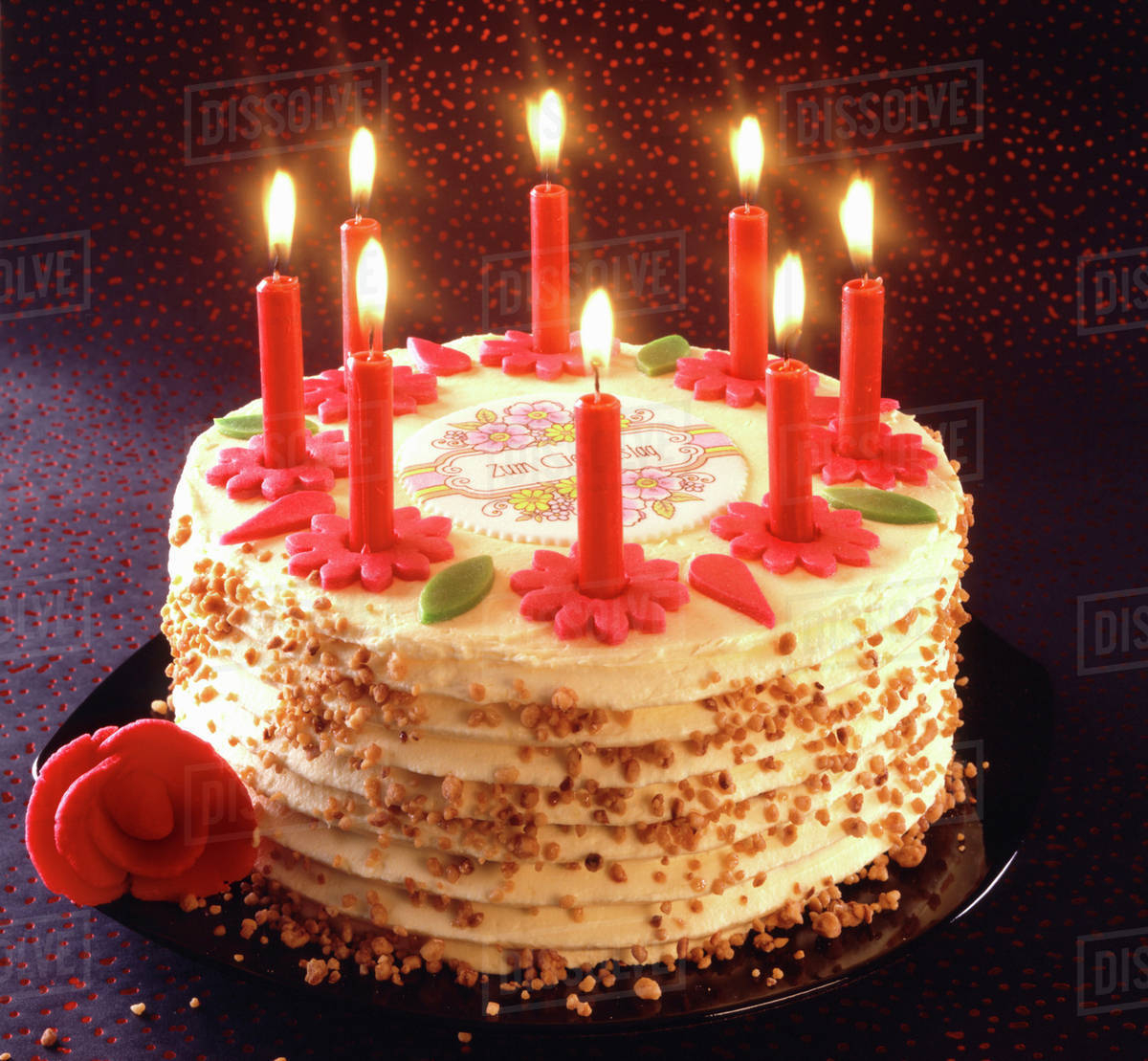 Birthday Cakes With Candles Birthday Cake With Burning Candles Stock Photo Dissolve