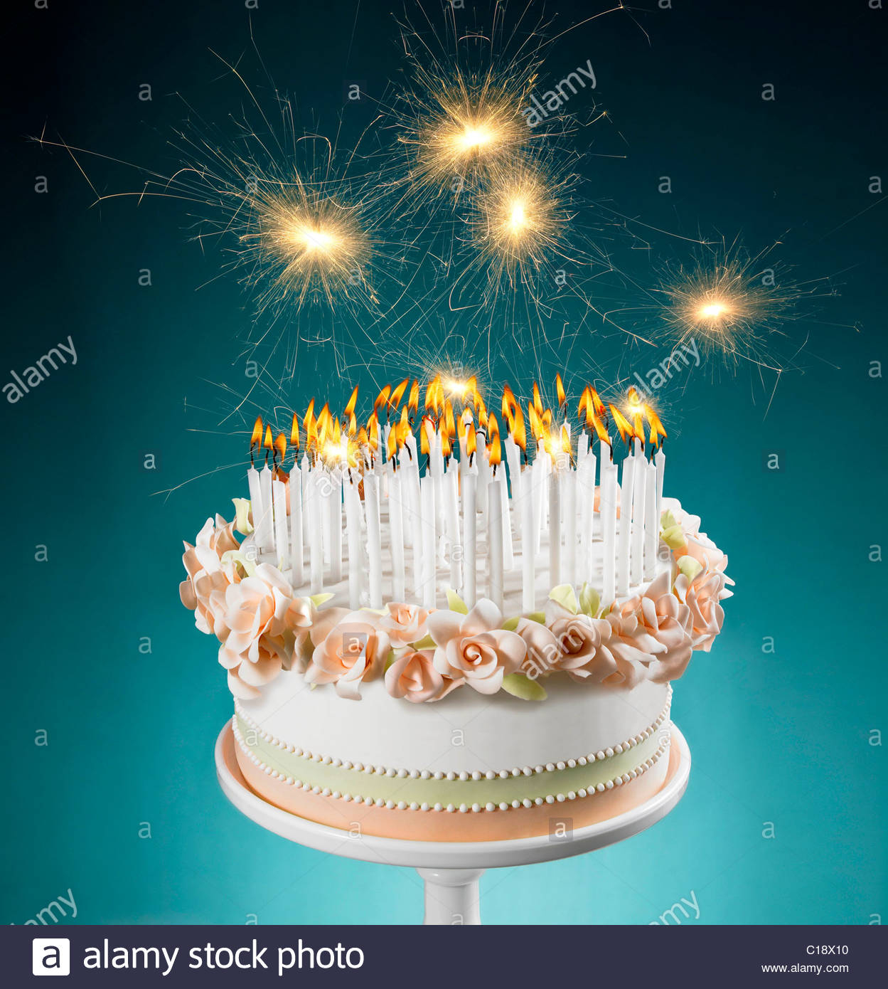 Birthday Cakes With Candles Birthday Cake With Lots Of Burning Candles Stock Photo 35231420 Alamy