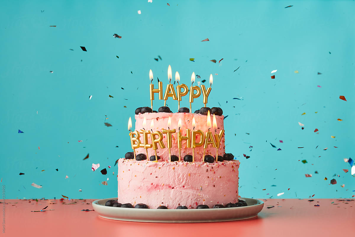 Birthday Cakes With Candles Happy Birthday Cake With Candles And Confetti Stocksy United