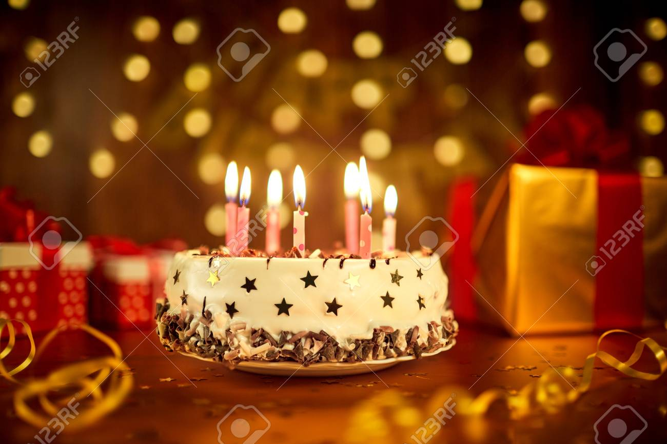Birthday Cakes With Candles Happy Birthday Cake With Candles On The Background Of Garlands