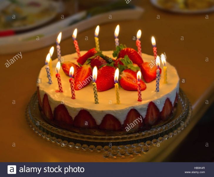 Birthday Cakes With Candles Strawberry Birthday Cake With Candles Stock Photo 127248823 Alamy