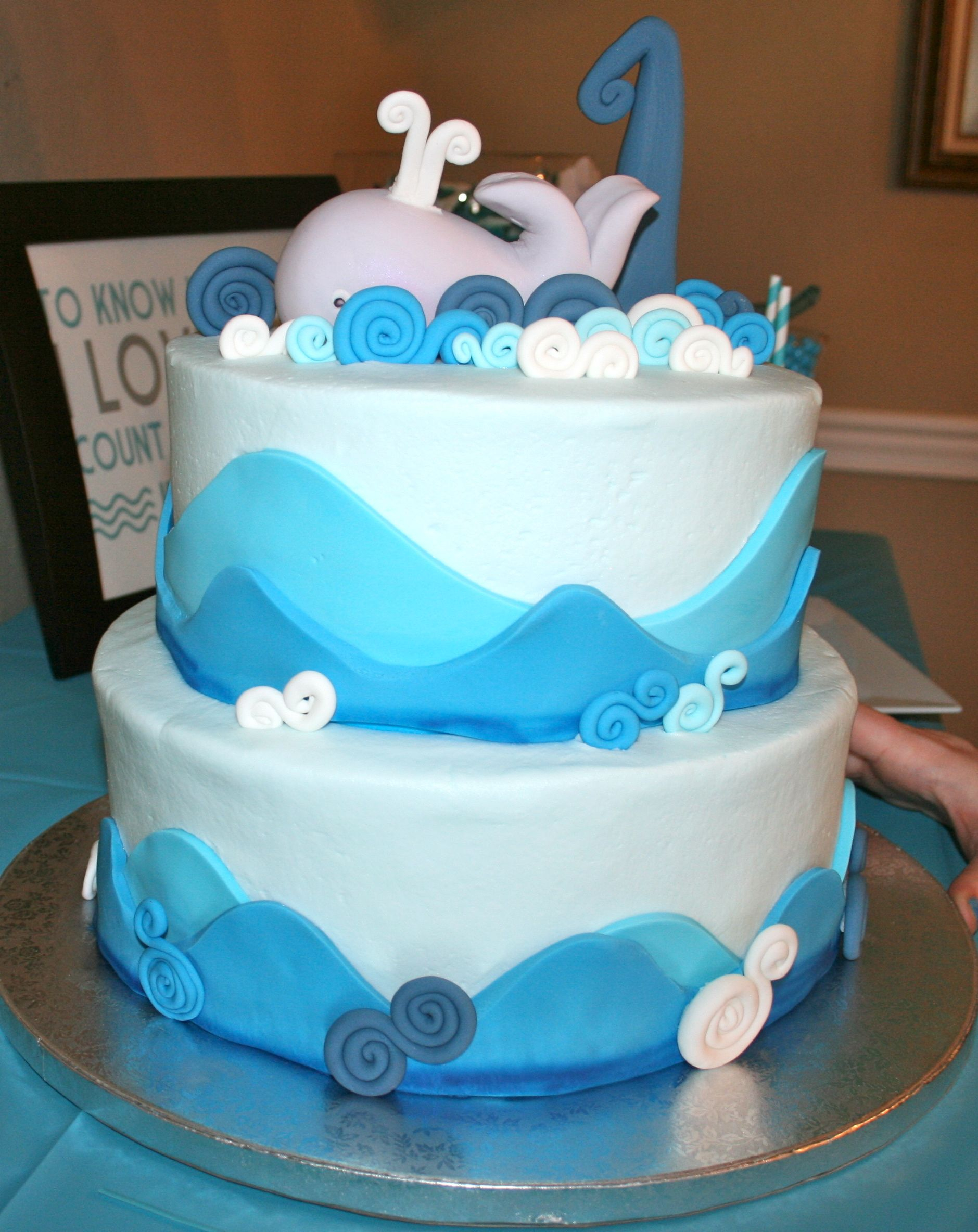 Boys First Birthday Cake Boys First Birthday Whale With Waves Cake So Cute Levis First