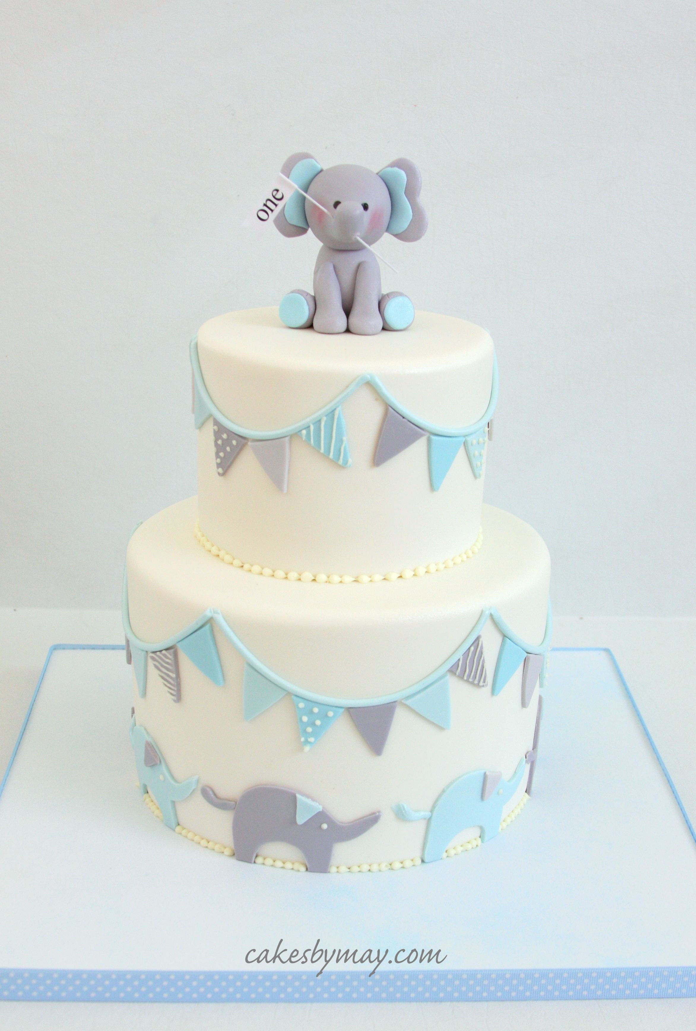 Boys First Birthday Cake Elephants And Banners First Birthday Cake Love All The Subtle