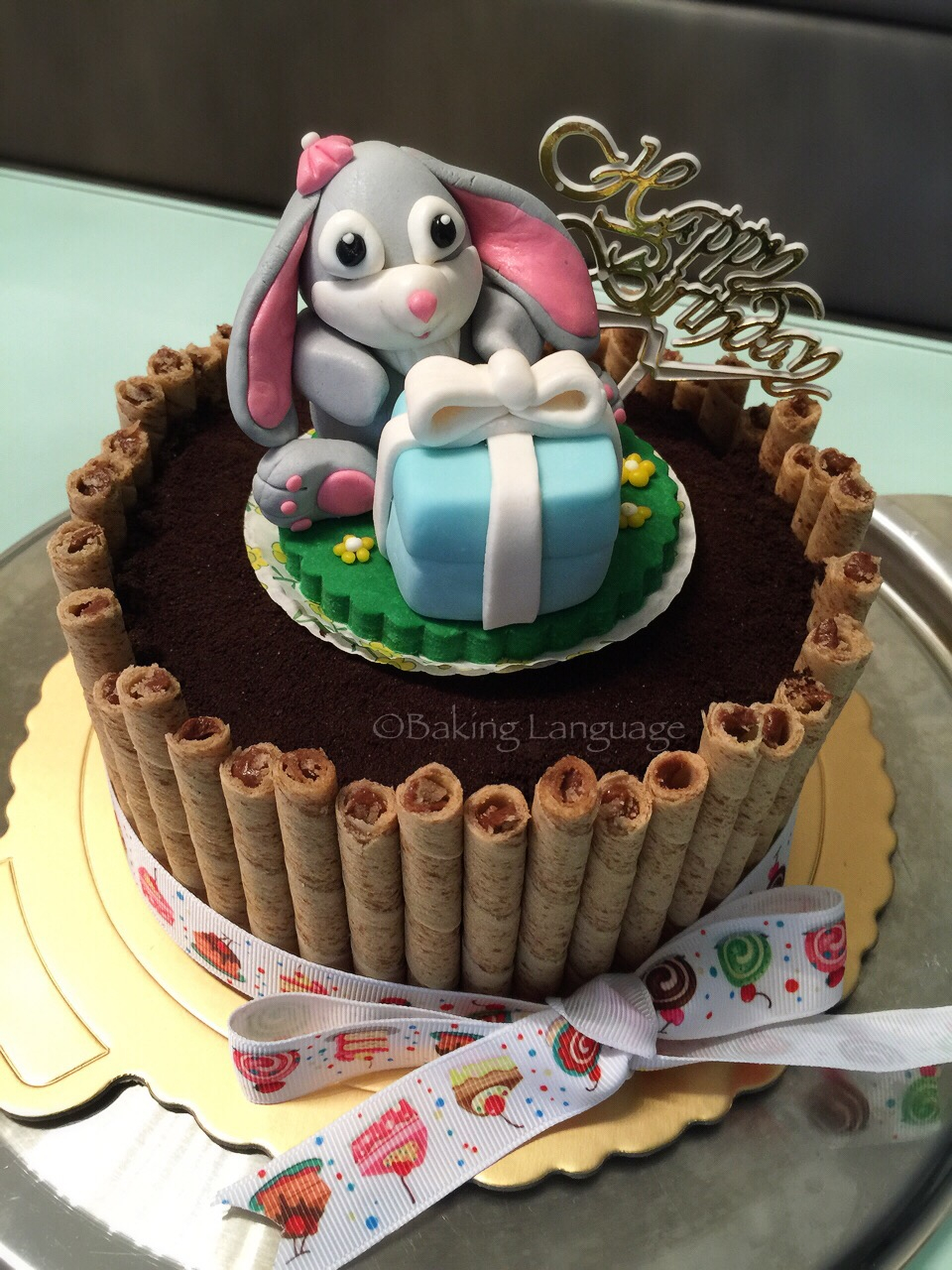 Bunny Birthday Cake Bunny Cookies Cream Chocolate Birthday Cake Baking Language