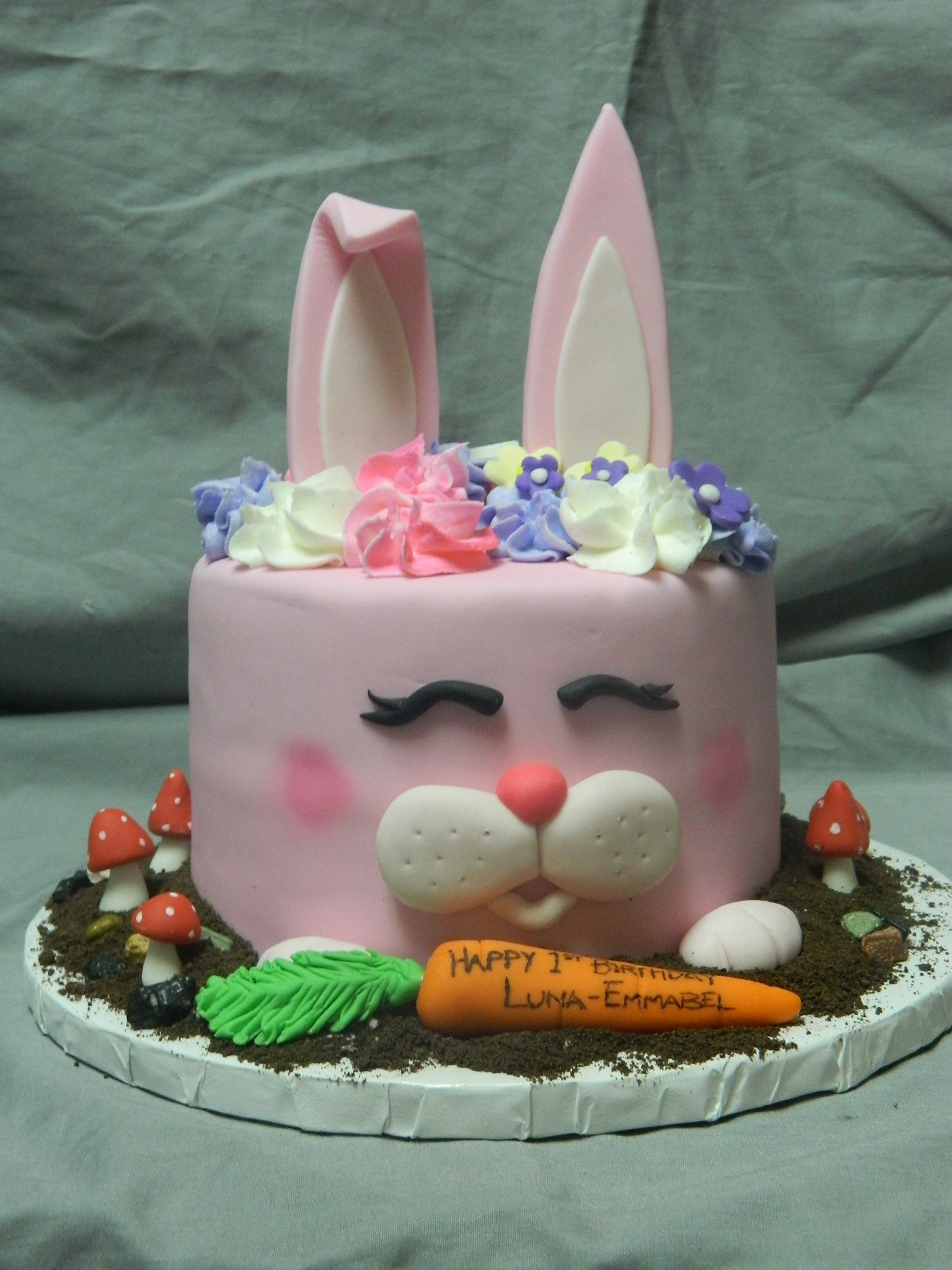 Bunny Birthday Cake Pink Bunny Custom 1st Birthday Cake Hey Cupcake