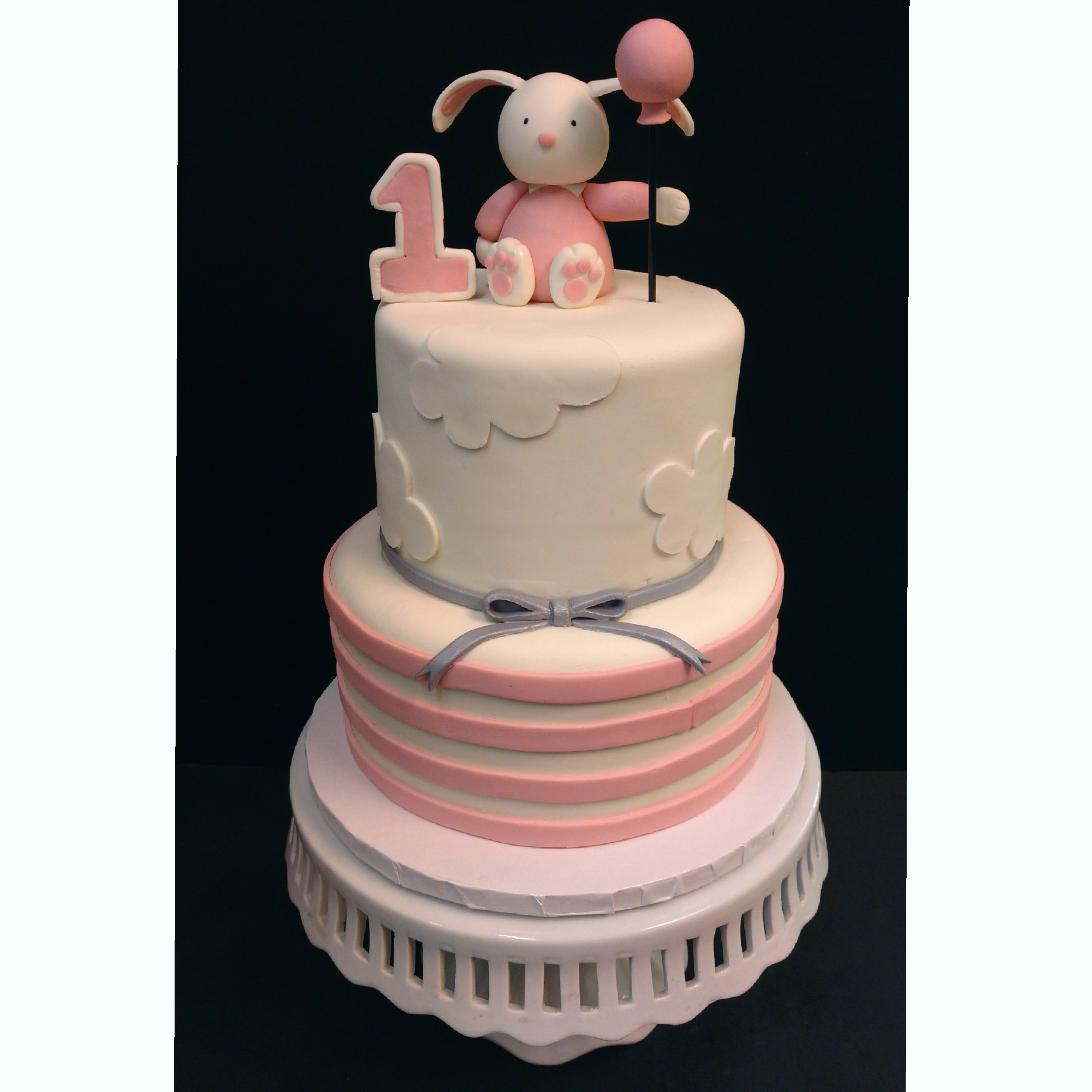 Bunny Birthday Cake Pink Bunny Stripe Birthday Cake