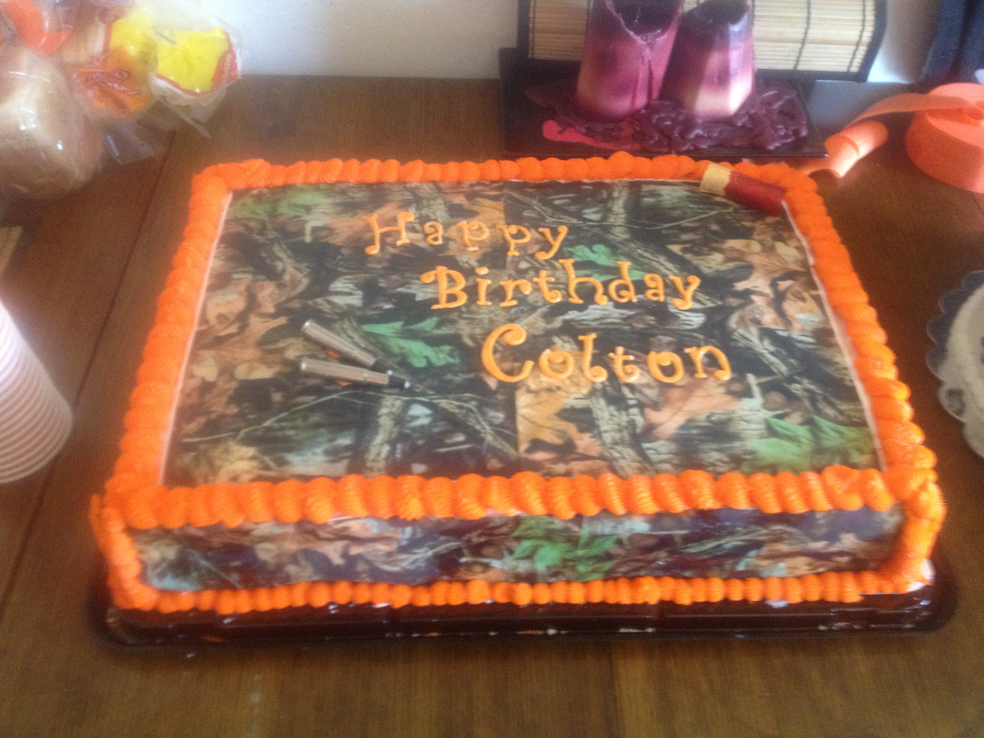 Camo Birthday Cake 13 Orange And Camouflage Birthday Cakes Photo Camo And Orange