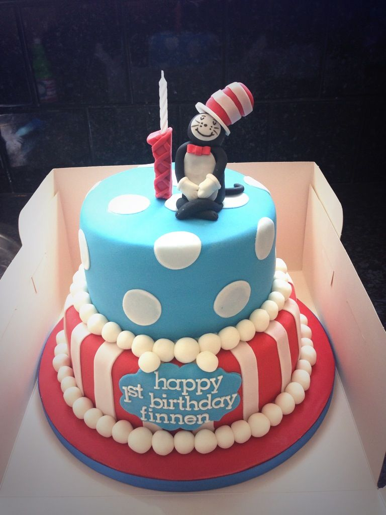 Cat In The Hat Birthday Cake Finnens First Birthday Cake Dr Seuss Cat In The Hat Cakesss In
