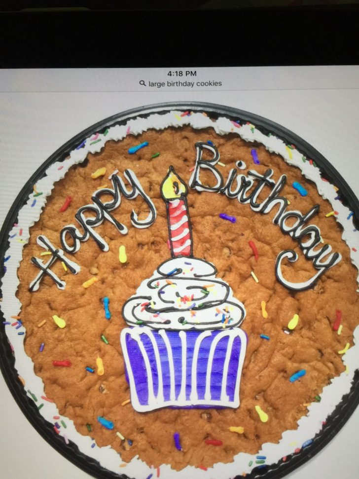 Chocolate Chip Cookie Birthday Cake Giant With Happy In Buttercream
