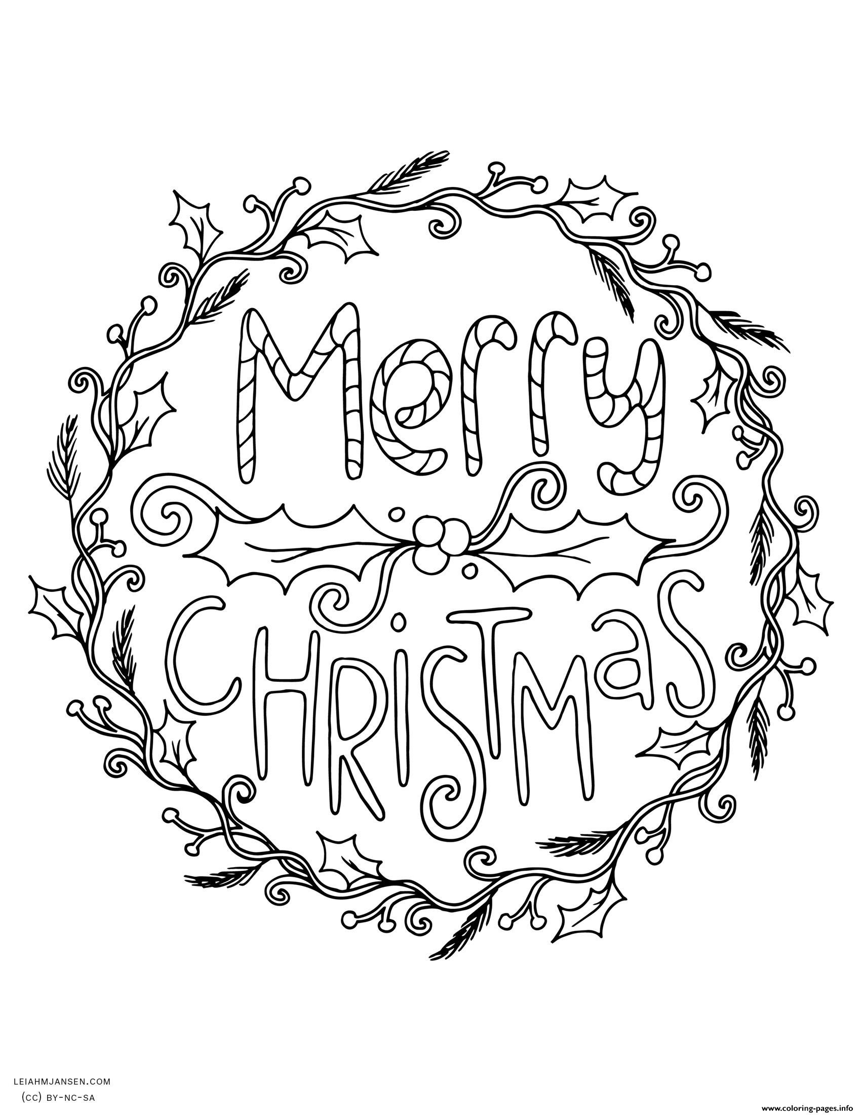 Christmas Wreath Coloring Pages Christmas Holly Coloring Pages Printable Coloring Page For Kids