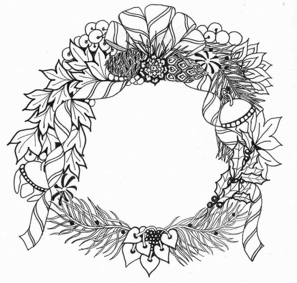 Christmas Wreath Coloring Pages Christmas Wreath Coloring Pages For Adults 11011048