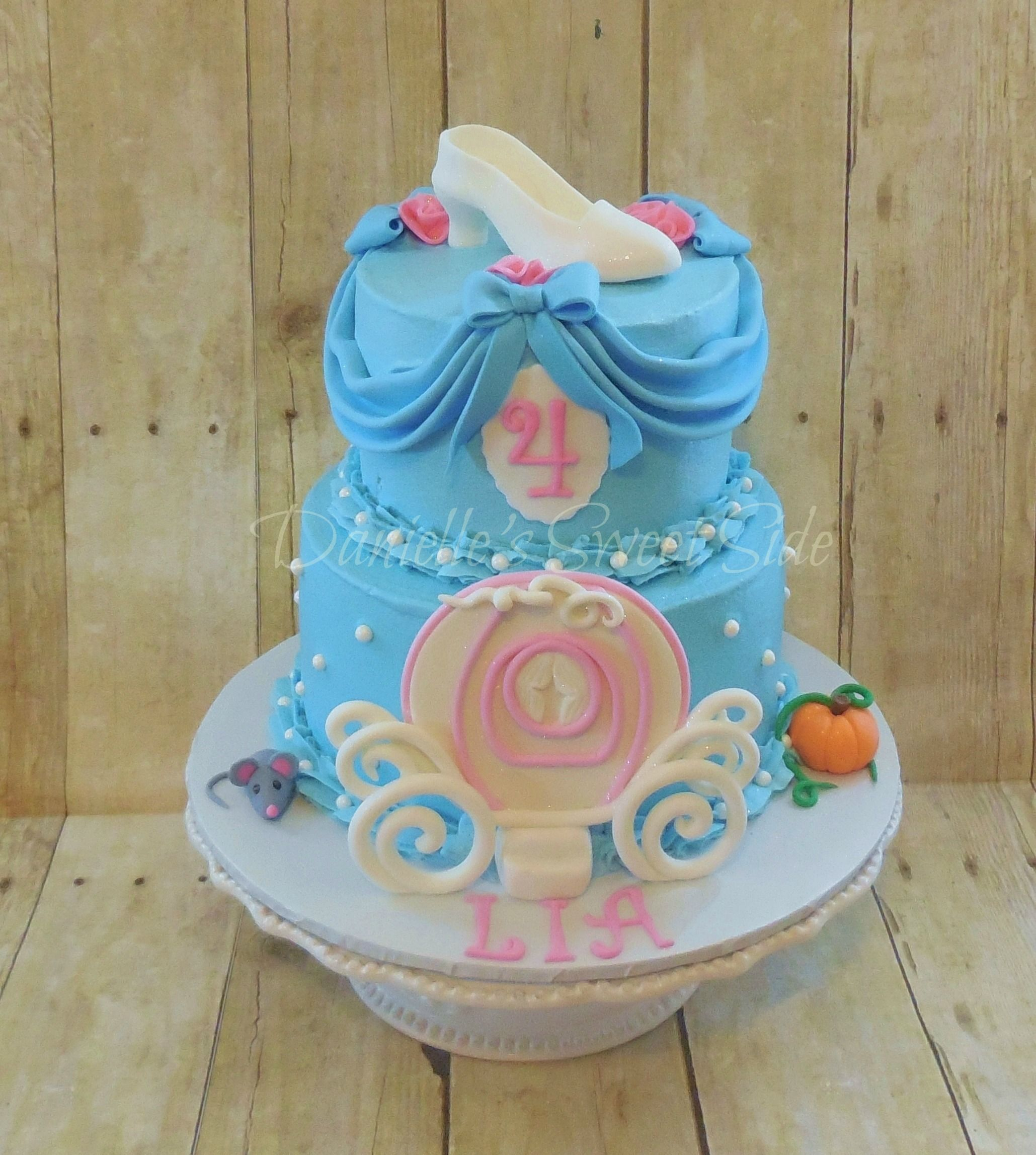 Cinderella Birthday Cakes Cinderella Inspired Birthday Cake Buttercream Icing With Fondant