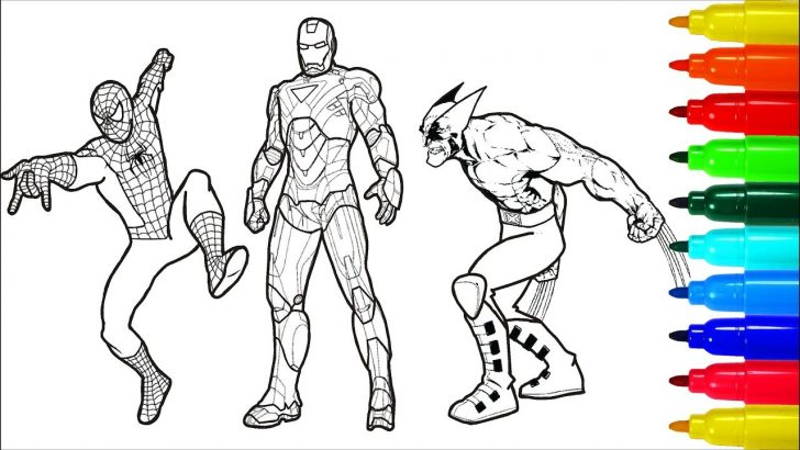 Coloring Pages Spiderman Spiderman Iron Man Wolverine Superheros Coloring Pages Colouring