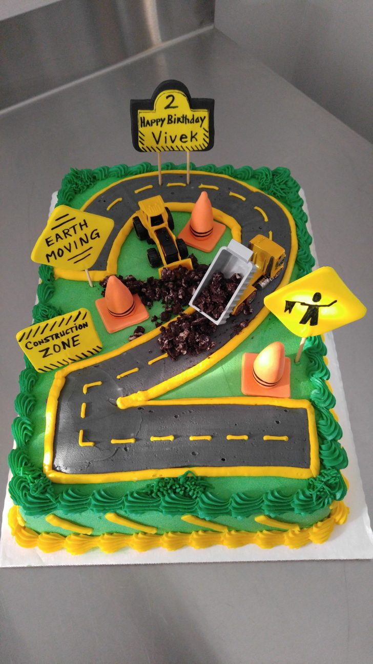 Construction Birthday Cakes Construction Zone Birthday Cake For 2 Year Old Excavator Dump