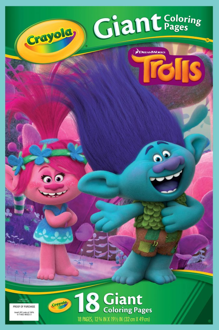 Crayola Giant Coloring Pages Crayola Trolls Giant Coloring Pages 18 Sheets For Ages 3 Walmart