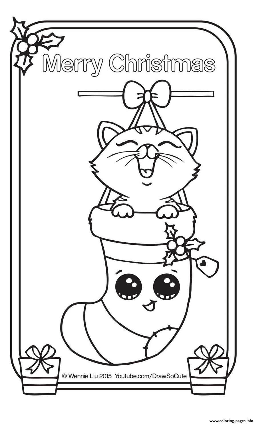 Cute Christmas Coloring Pages Printable Cute Christmas Coloring Pages Card Kitten Sketch Free