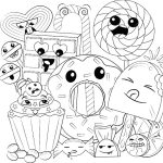Cute Food Coloring Pages Cute Food Coloring Pages Happy Cartoon Dessert Free Printable