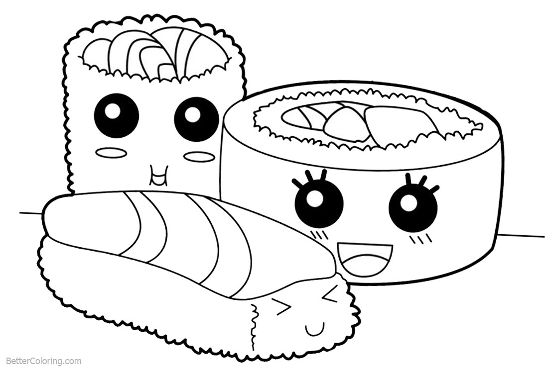 Cute Food Coloring Pages Cute Food Coloring Pages Sushi Free Printable Coloring Pages