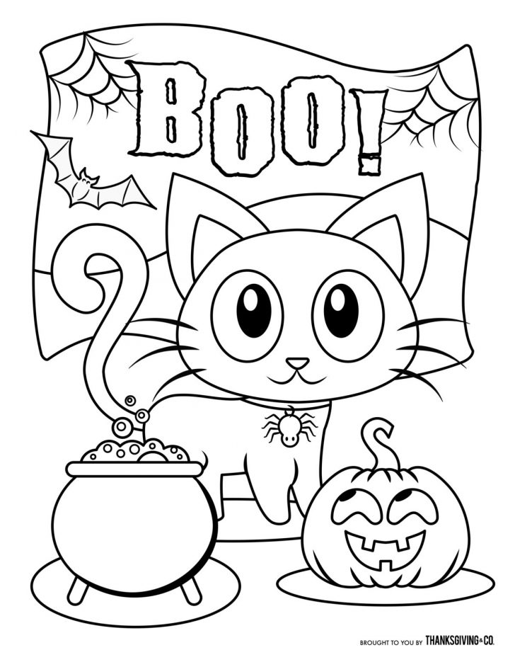 Cute Halloween Coloring Pages Small Kitten On Treat Table Boo Coloring Book Pages Print Color Craft