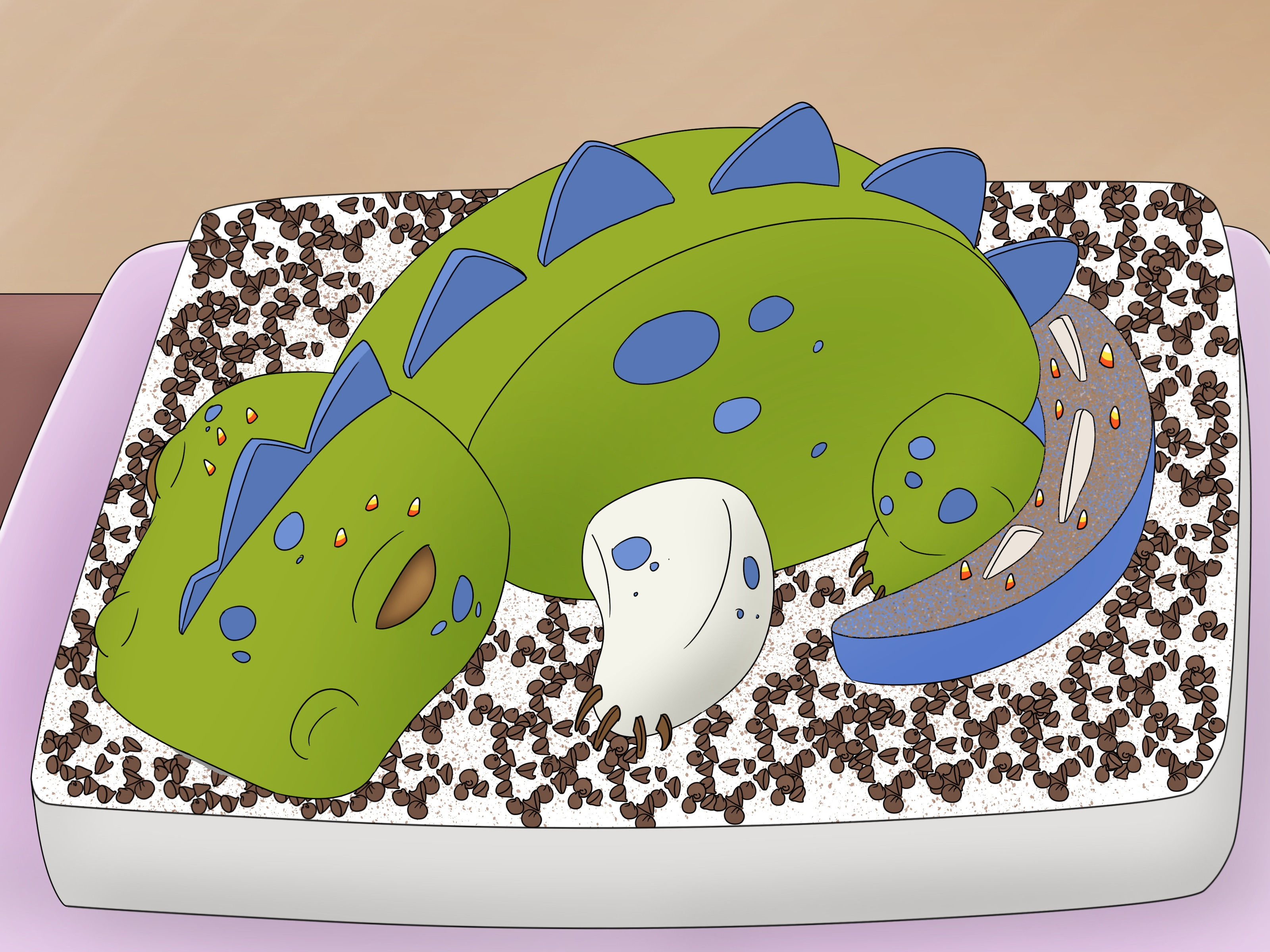 Dinosaur Birthday Cakes How To Make A 3d Dinosaur Birthday Cake 15 Steps With Pictures
