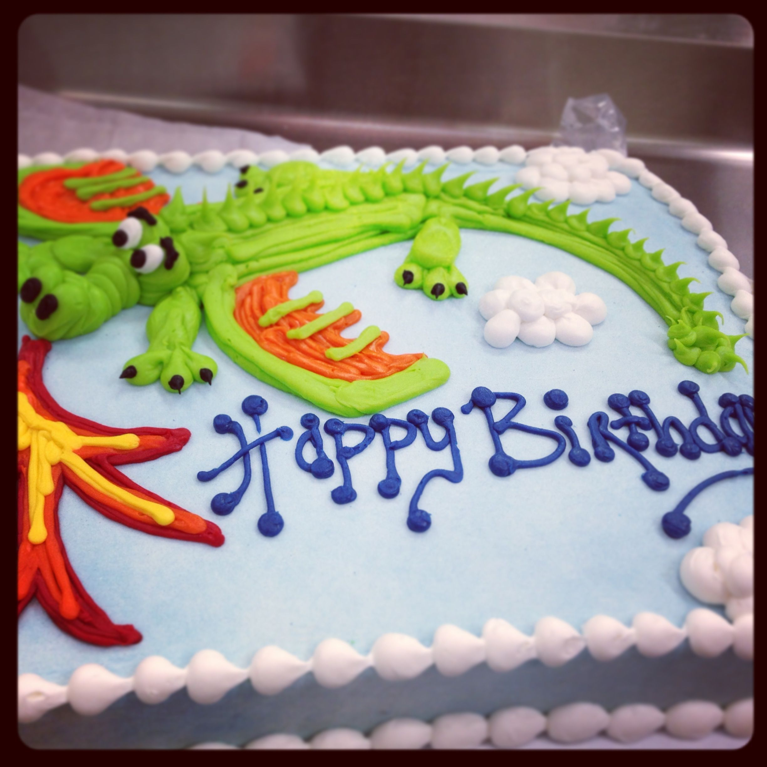 Dragon Birthday Cake Dragon Buttercream Sheet Cake For Birthday Cakes Pinterest