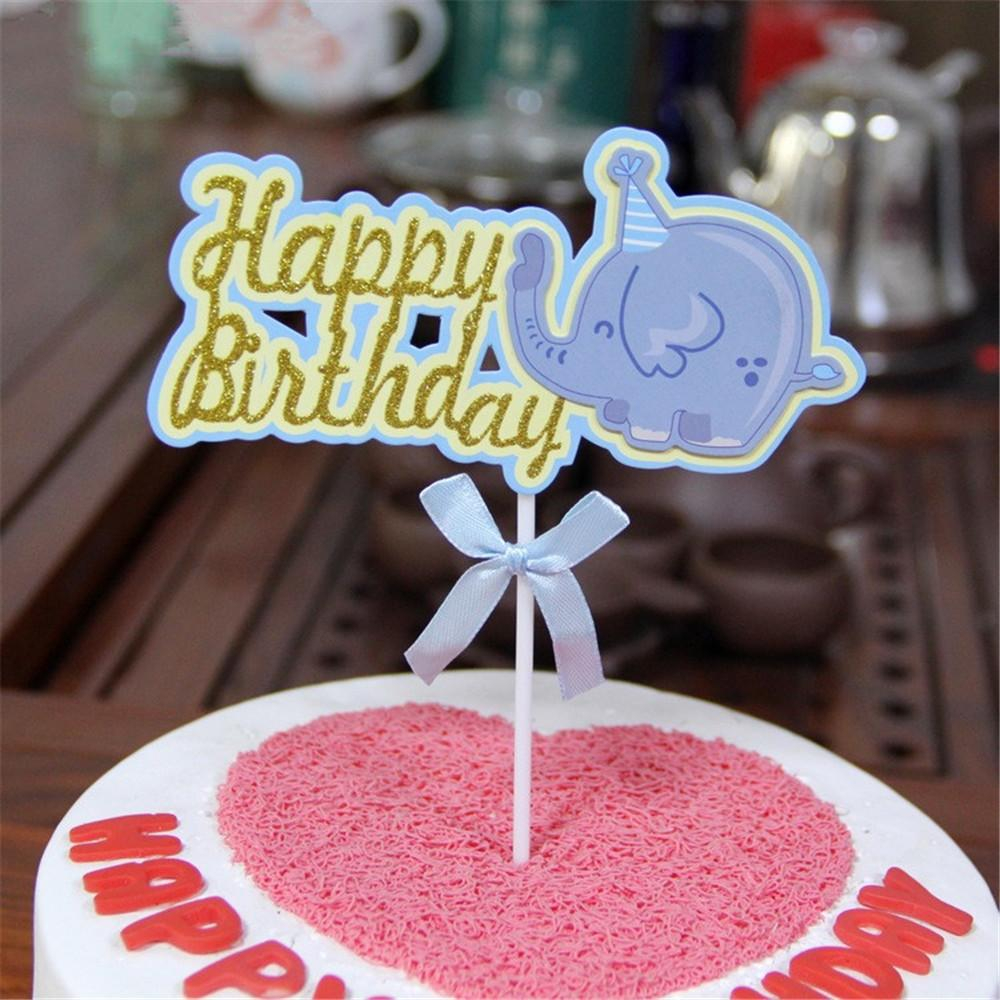 Elephant Birthday Cakes 2019 Crley Wholesale Happy Birthday Cake Cup Toppers Cartoon Animal