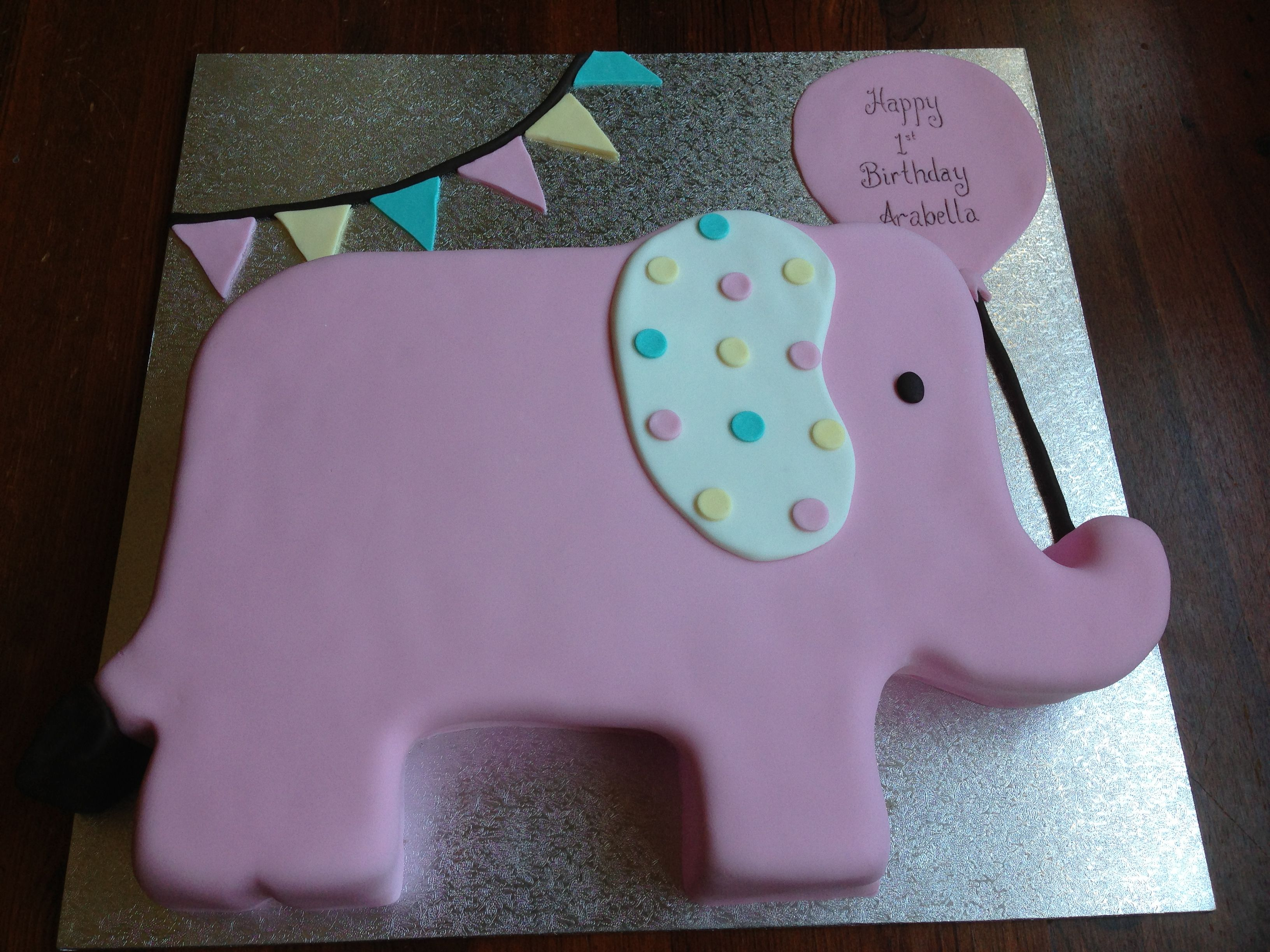 Elephant Birthday Cakes Elephant Birthday Cake With Bunting Banner Perfect For A First
