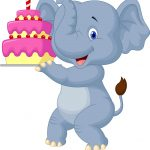 Elephant Birthday Cakes Elephant Cartoon With Birthday Cake Royalty Free Vector