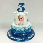 Elsa Birthday Cake Two Tier Ruffled Elsa Cake Childrens Birthday Cakes Celebration