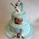 Elsa Birthday Cakes 2 Tier Cake With Handmade Olaf And Sven Characters Plus Elsa And Ana