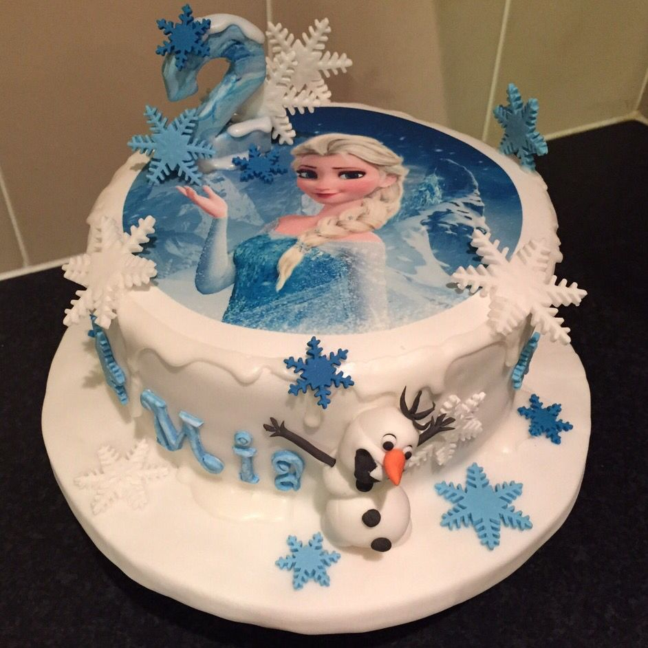 Elsa Birthday Cakes Frozen Elsa 2nd Birthday Cake Blue And White Frozen Cake With