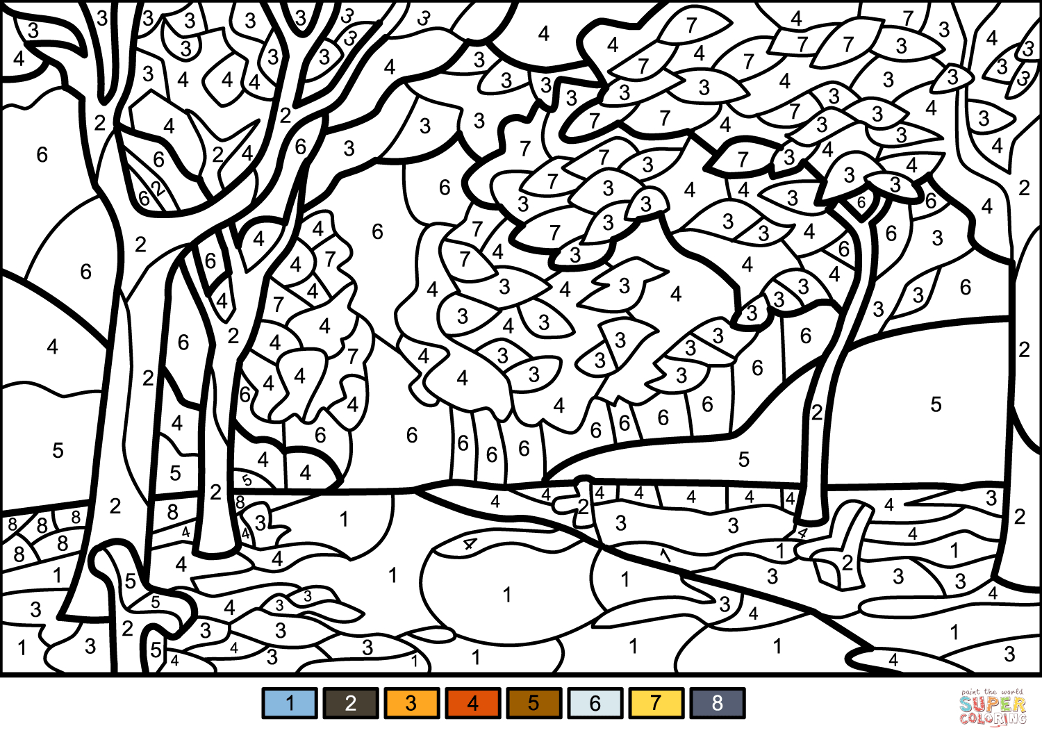 Fall Tree Coloring Pages Fall Trees Color Number Free Printable Coloring Pages