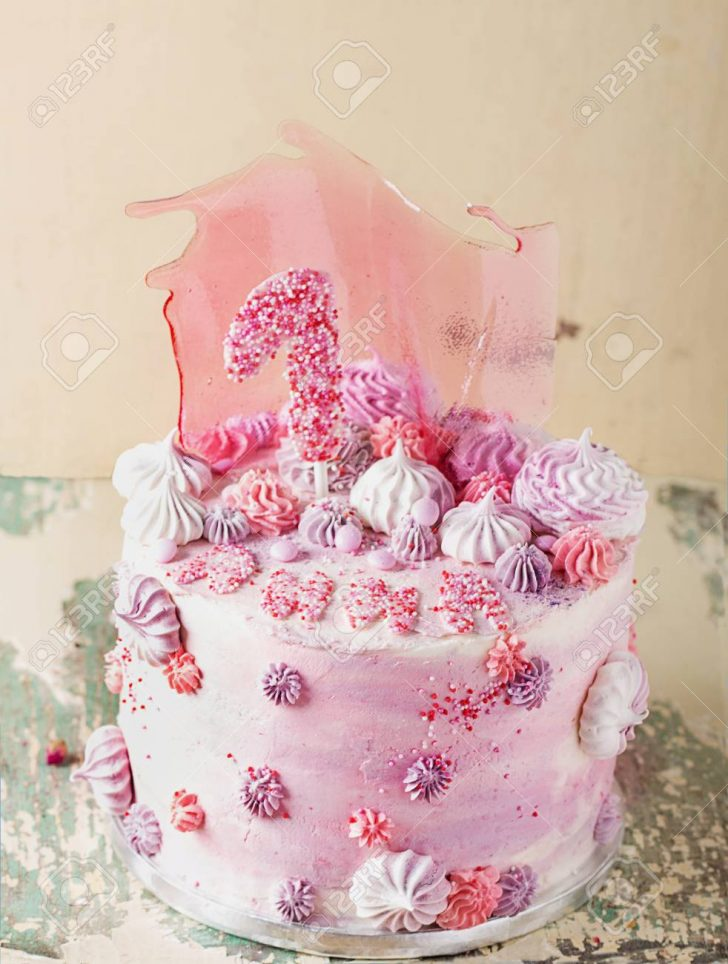 Fancy Birthday Cake Pink And Violet Fancy Birthday Cake Decorated With Pink Caramel