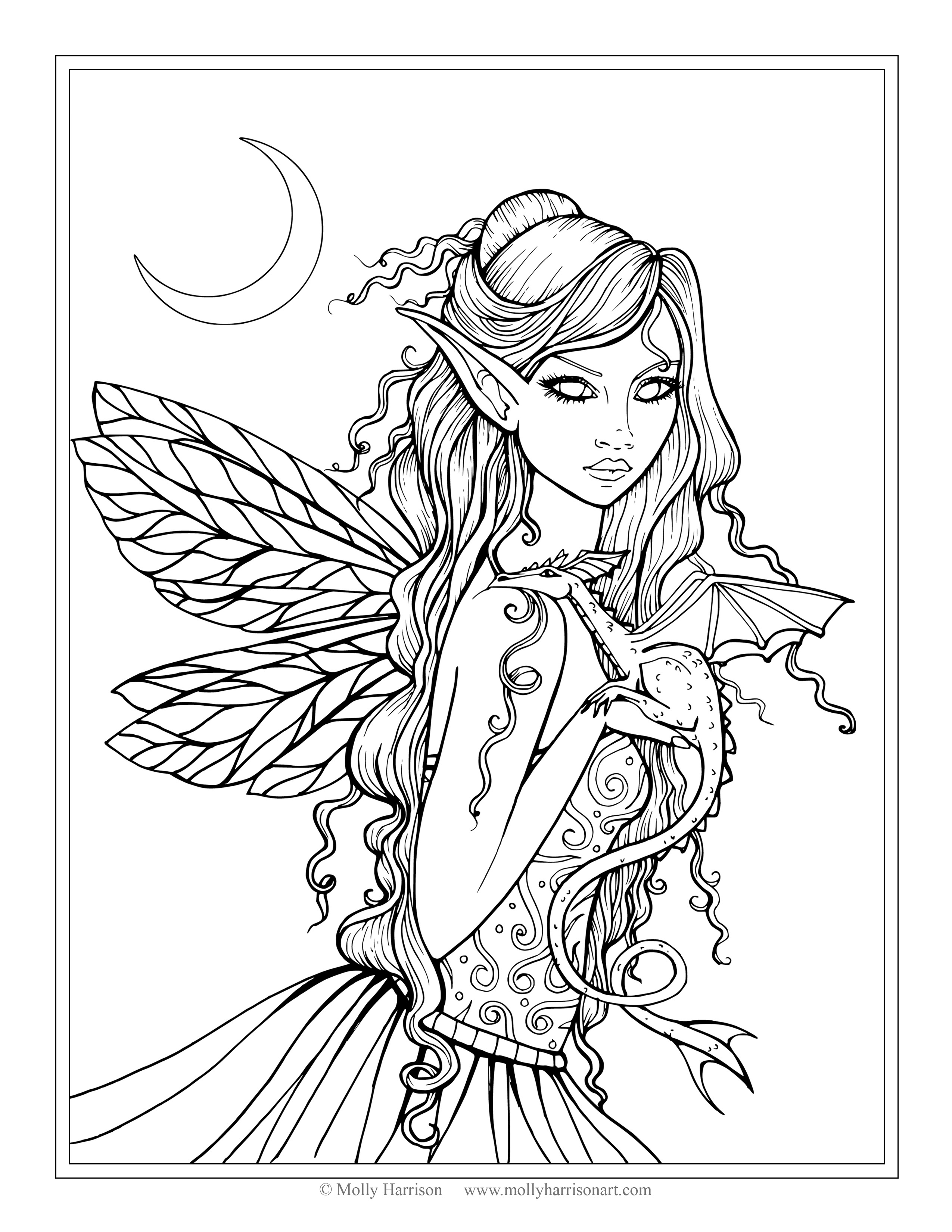 Fantasy Coloring Pages Free Fairy And Dragon Coloring Page Molly Harrison Fantasy Art