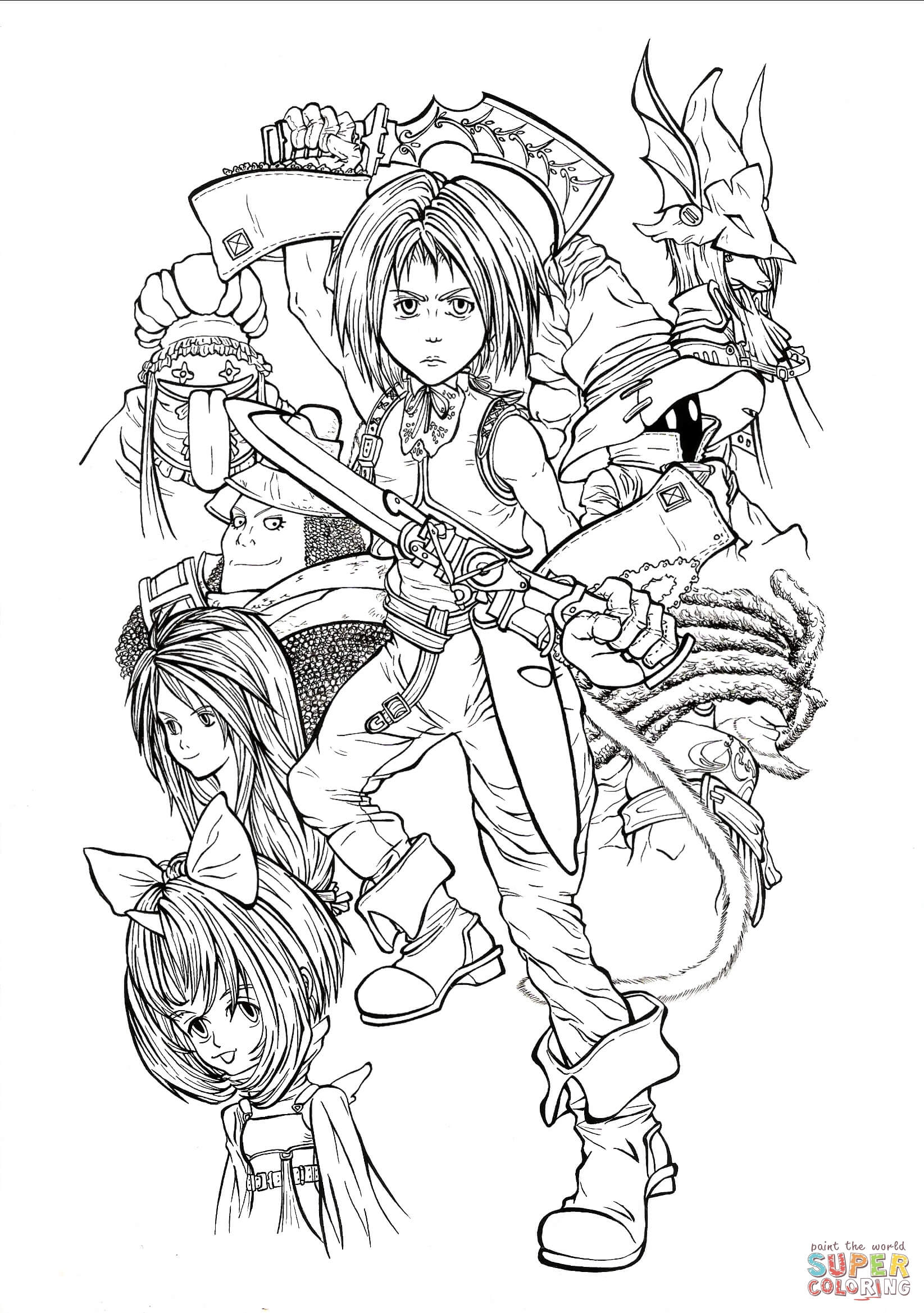 Fantasy Coloring Pages Full Time Playable Characters Of Final Fantasy Ix Coloring Page