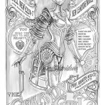 Fantasy Coloring Pages Gearson Girl Coloring Pages Adult Coloring Steampunk Etsy