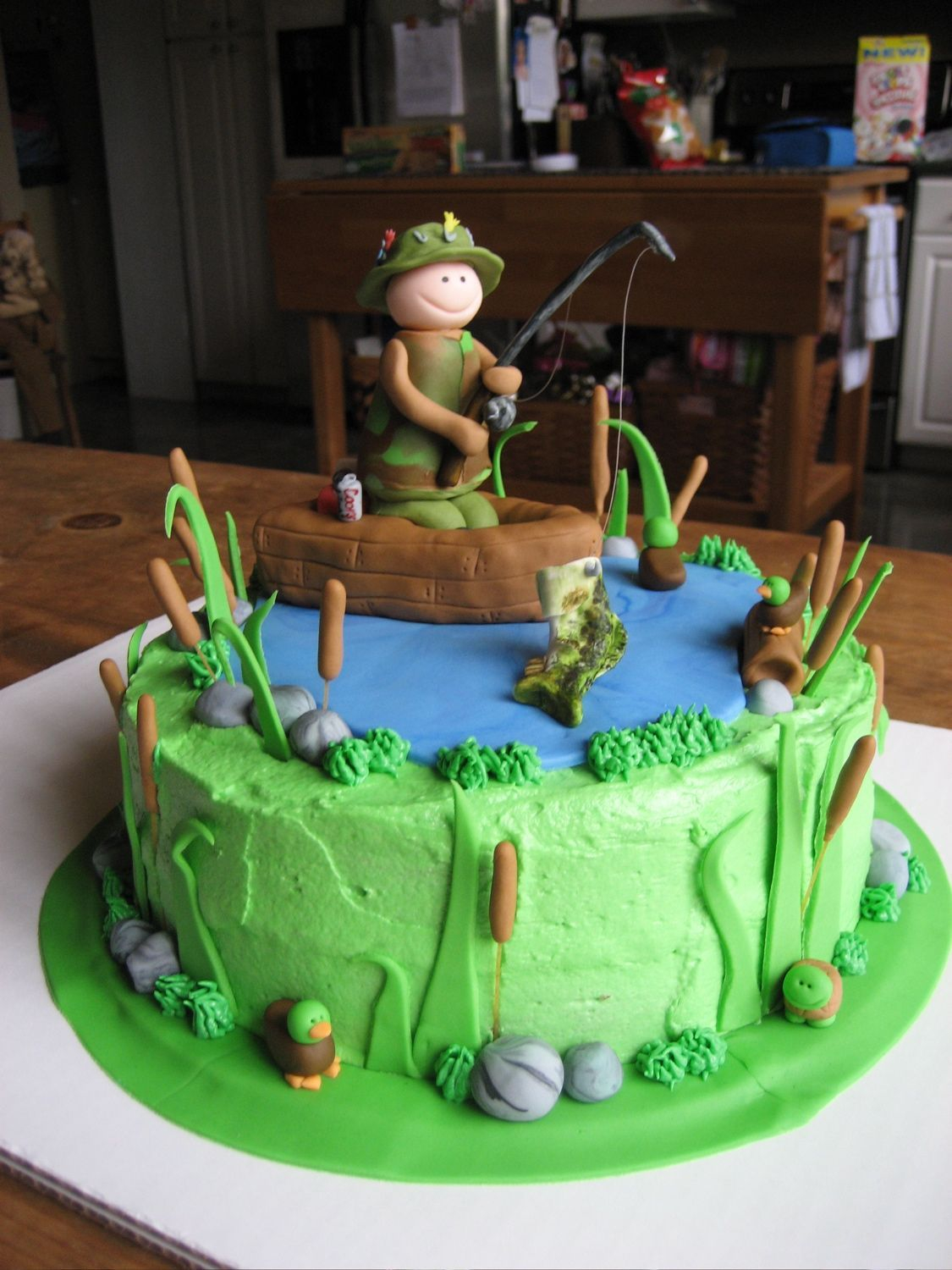 Fishing Birthday Cakes Fishing Birthday Cake 9 Round Cake With Buttercream Icing