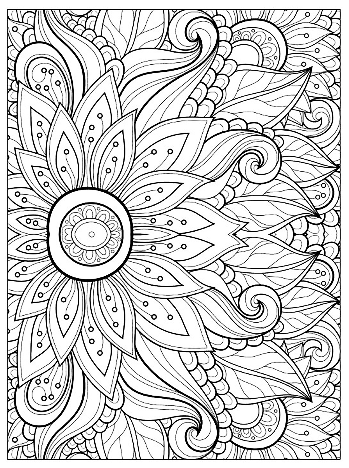 27+ Wonderful Picture of Flower Adult Coloring Pages