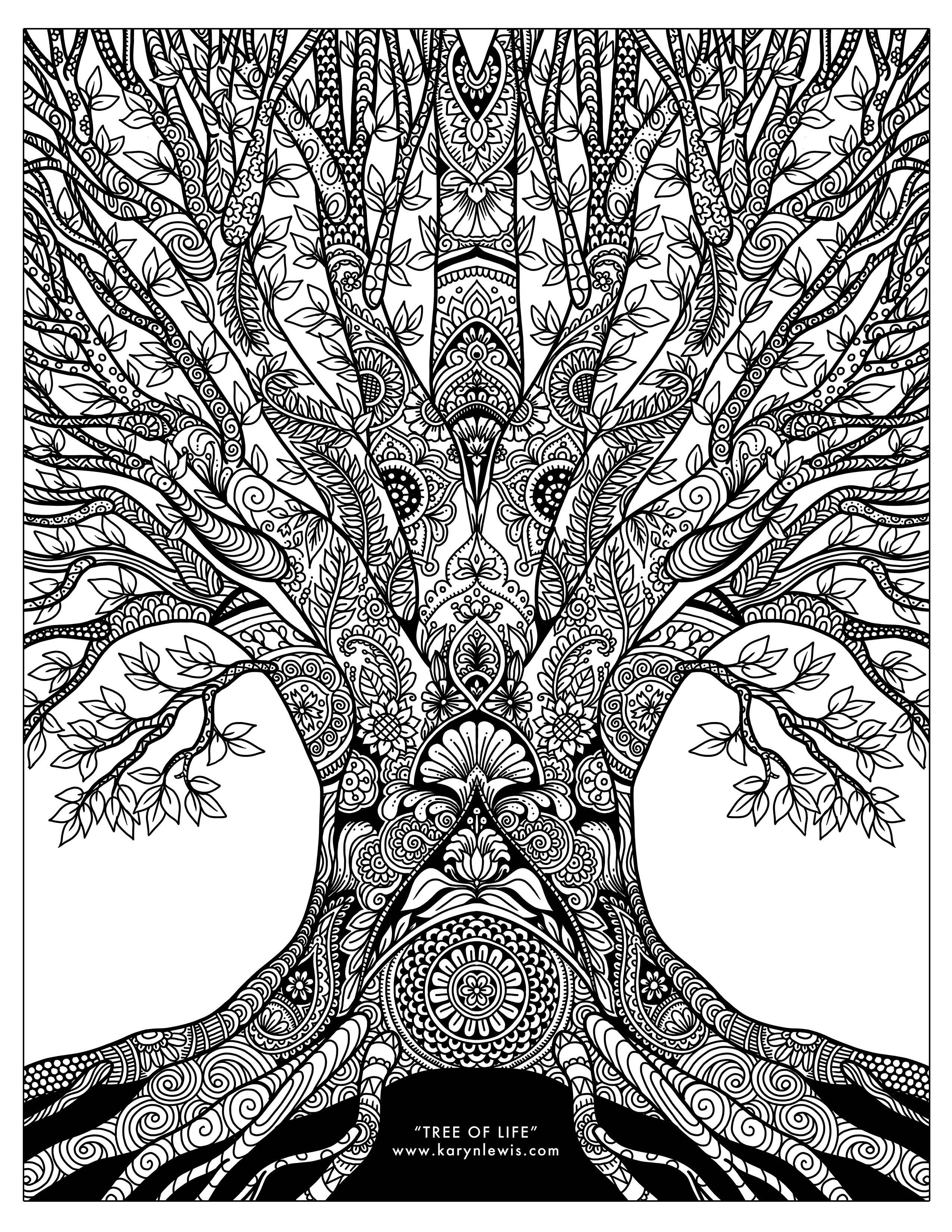 Free Adult Coloring Pages Tree Of Life Doodle Art Free Adult Coloring Page Karyn Lewis
