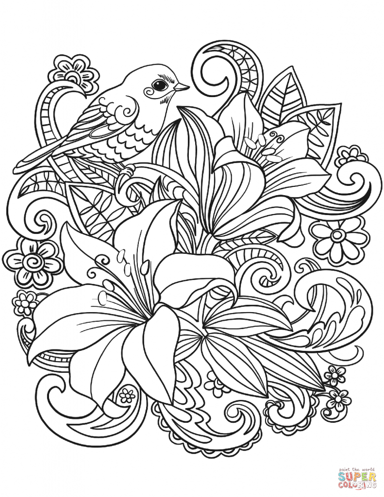 Free Printable Flower Coloring Pages Wanted Flowers Coloring Pages Skylark And Page Free Printable