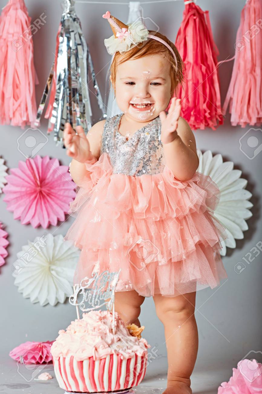 Girls First Birthday Cake Ba Girl First Birthday Cake Smash Photo Shoot Stock Photo Picture