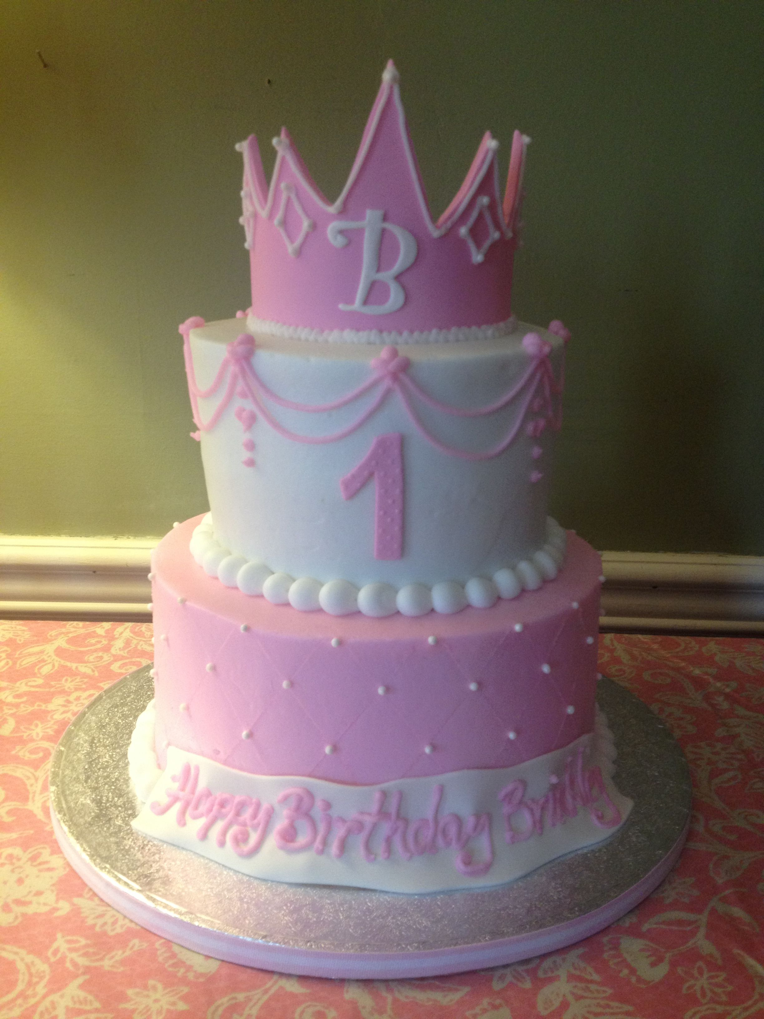 Girls First Birthday Cake Ba Girls First Birthday Cake Princess Cake And Crown Pink The